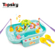 Battery operated toy fishing game water funny duck bath toy set with music for child