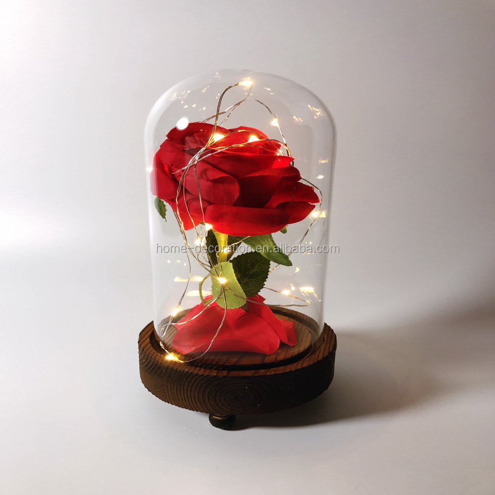 Whole Rose In Gl Dome Bell Jar Cloche Terrarium With Led Lights