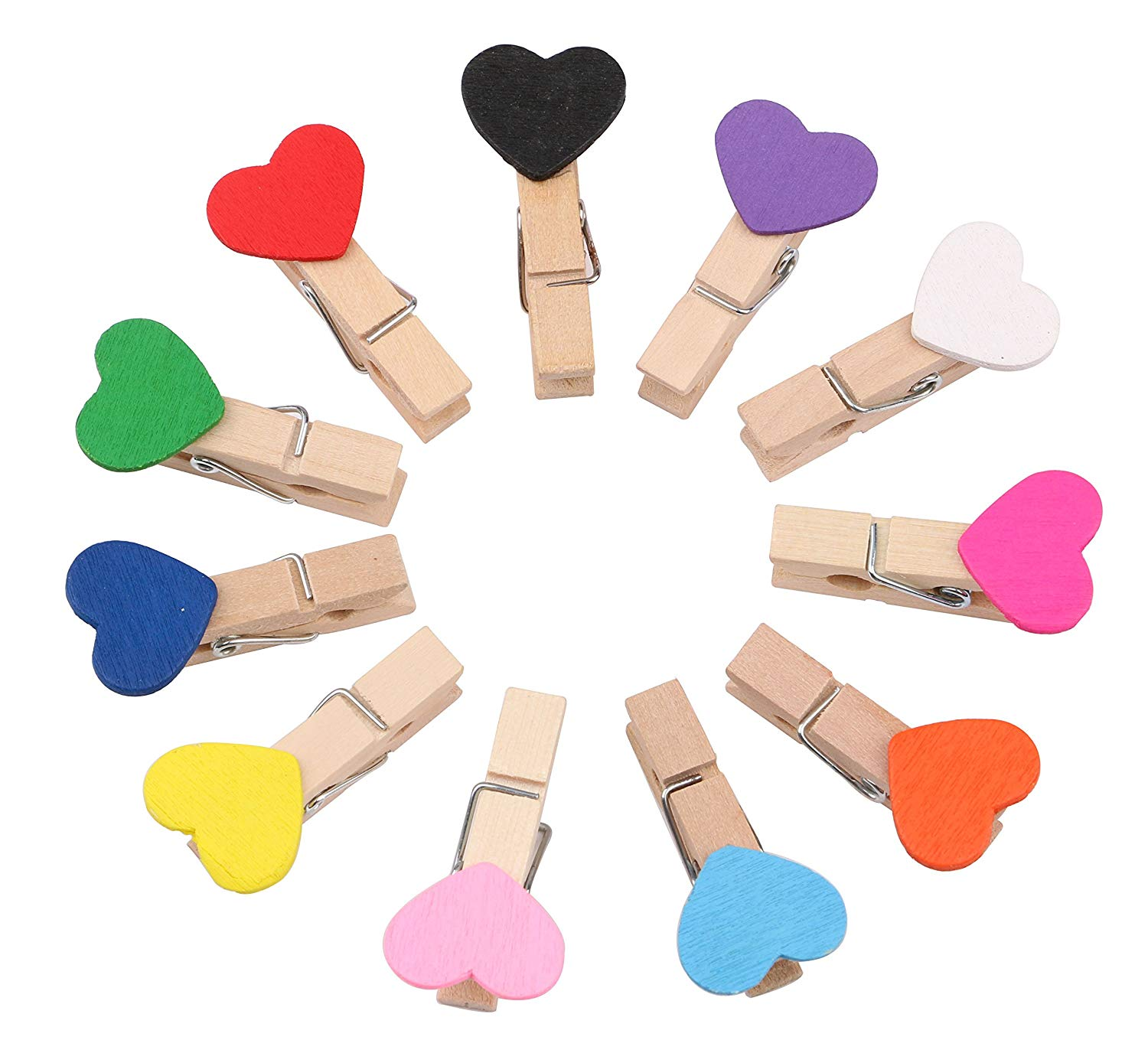 Dedoot Mini Clothespins, Tiny Colored Wooden Heart Cloth Pins Clips Set Pack of 11, Nature Wood Craft Clips Photo Paper Pegs Photo Clips for Hanging Photo Paper pegs Picture - 11 colors