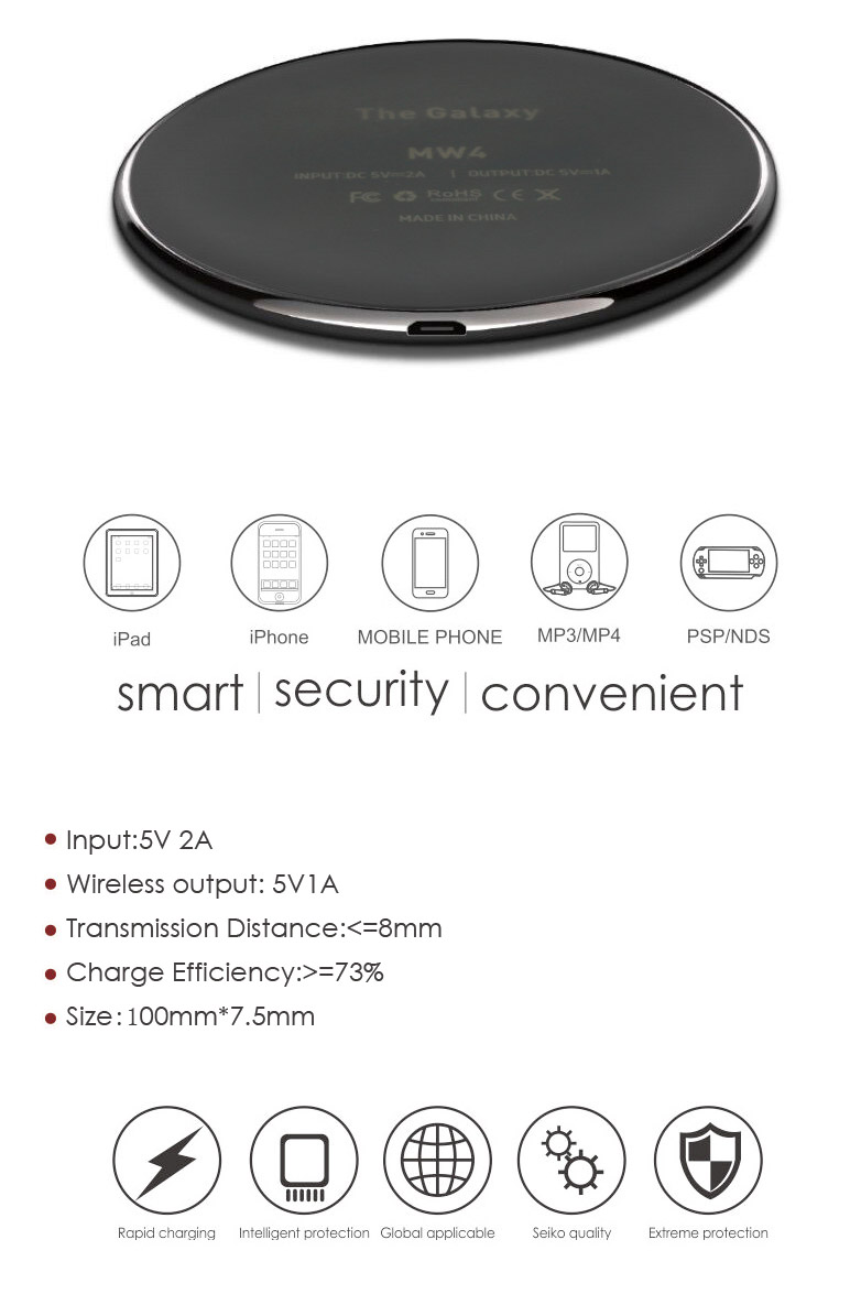 5W Wireless Charger Ultra-Slim Wireless Charger for Samsung