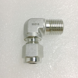"SS 1/4"" NPT X 1/4"" Tube Compression 90 Degree Adapter"
