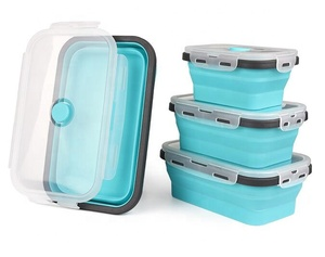 FDA Food Grade New Collapsible Design Wholesale Round Microwave Safe Folding Silicone Lunch Box