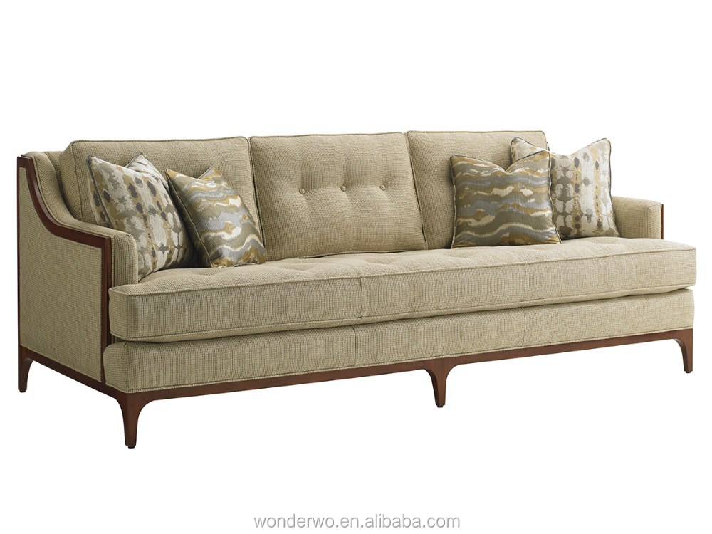 Barclay Sofa Wood Trimmed On Tufted Living Room Furniture Hotel