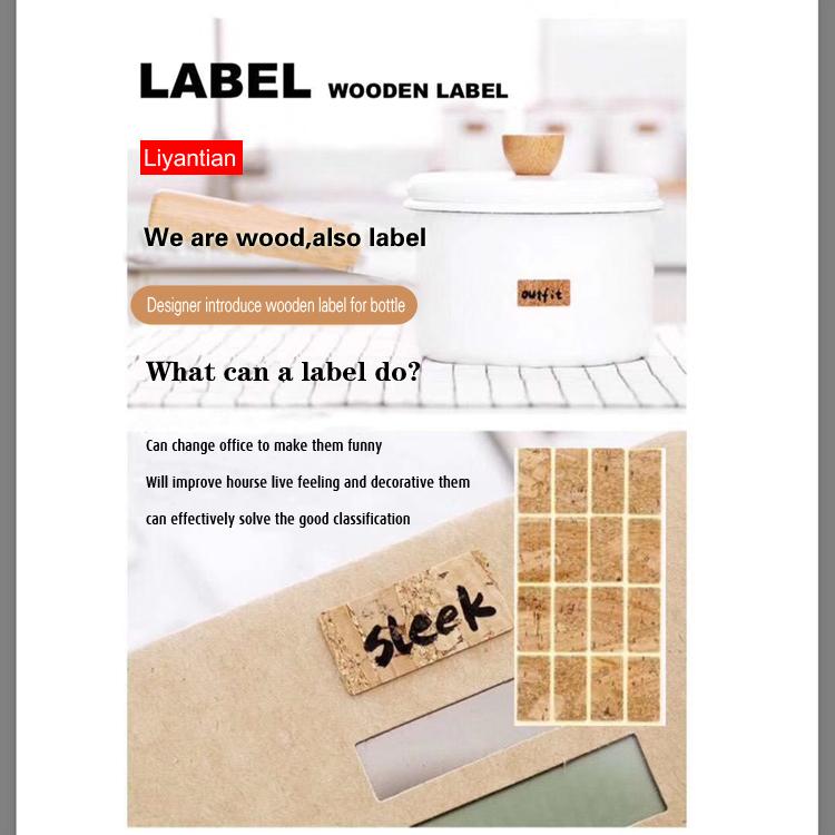 printed DIY natural self adhesive custom logo sticker wooden label maker