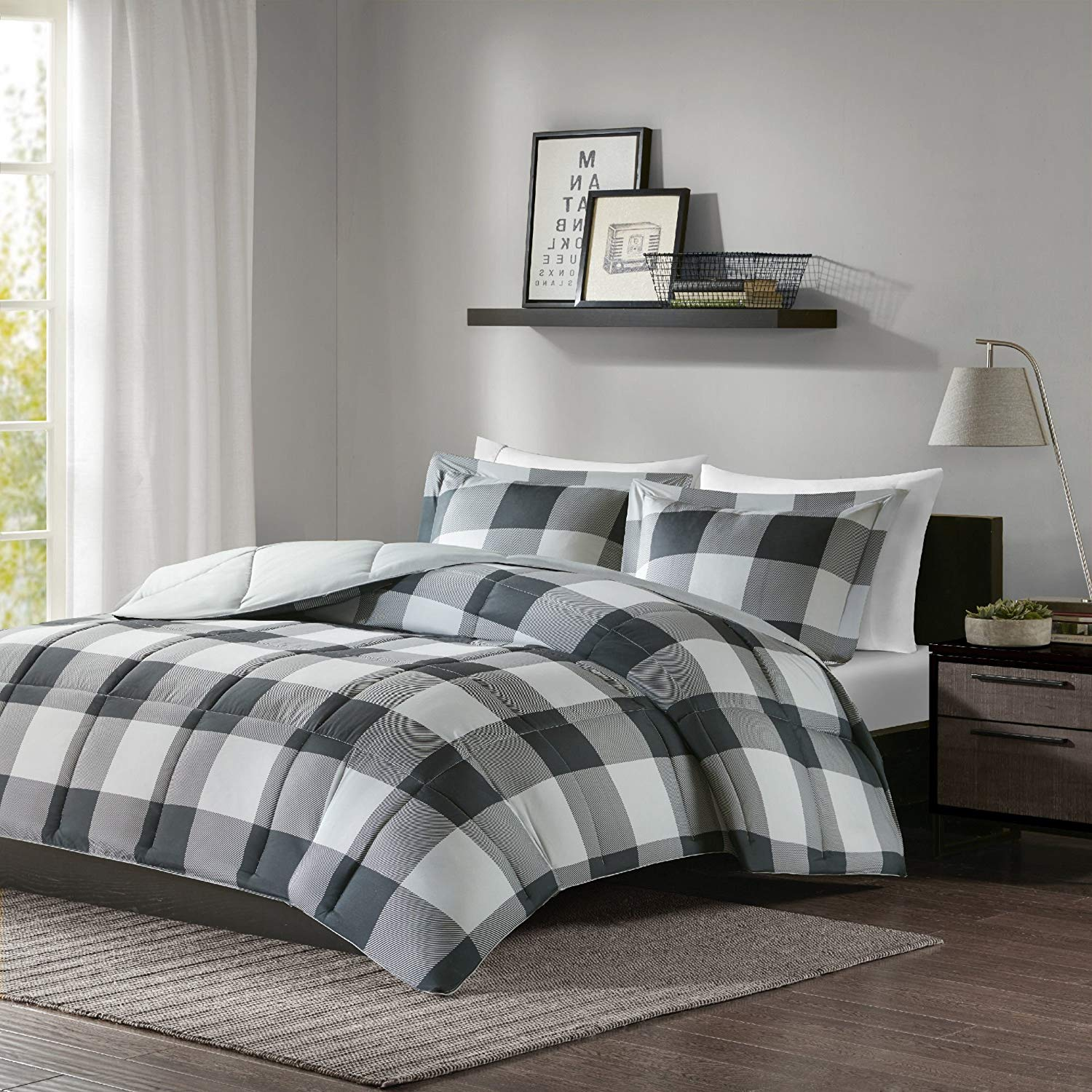 MPN 3 Piece Black Grey Plaid Comforter Full Queen Set, Gray Cabin Themed Bedding Lumberjack Pattern Squares Lodge Rustic Cottage Tartan Checkered Checked Lightweight, Microfiber