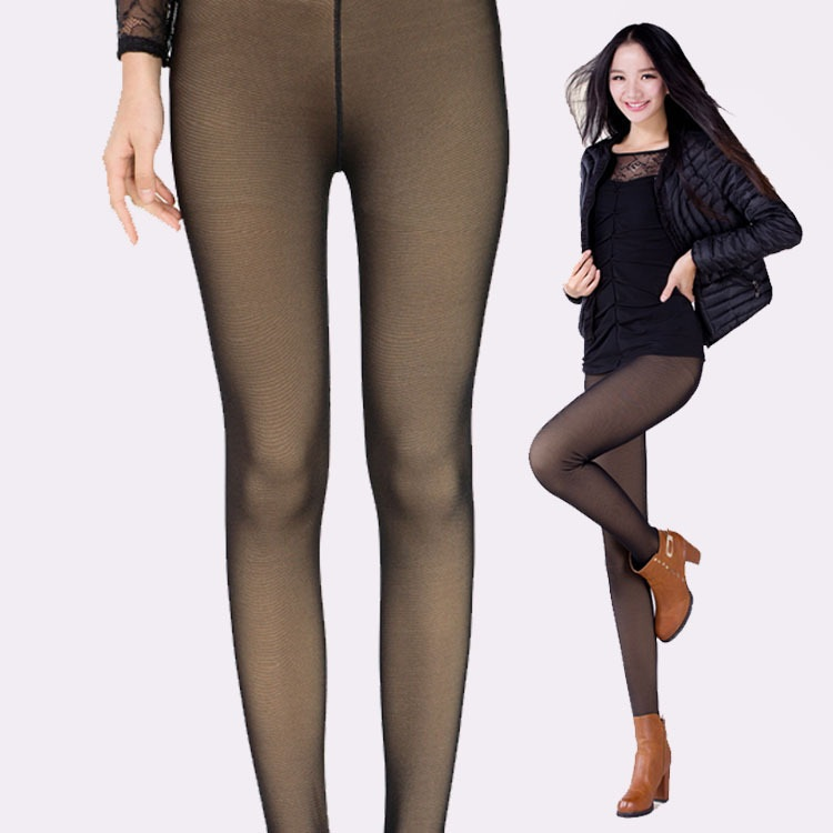 69c7e10a30e Get Quotations · False Flesh Waist Net Yarn See Through Thin Milk Silk  Leggings Women Winter Pants Plus Size