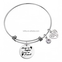 "Stainless Steel Expandable Wire Bangle Family Tree Bracelet Engraved ""Always My Daughter Forever My Friend: Gemstone Charm Cuff"