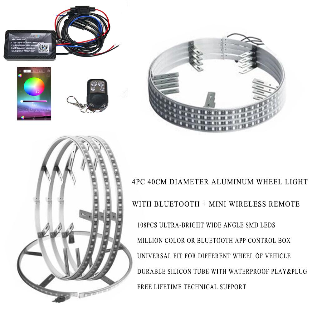 high quality multi-color led light waterproof 4pc 40cm diameter aluminum wheel light