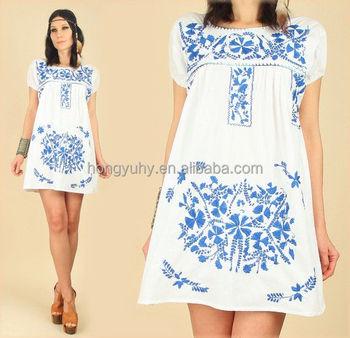edee81bf2 2016 Estilo Vintage mexicano bordado Mini vestidos venta al por mayor precio  EZ2401