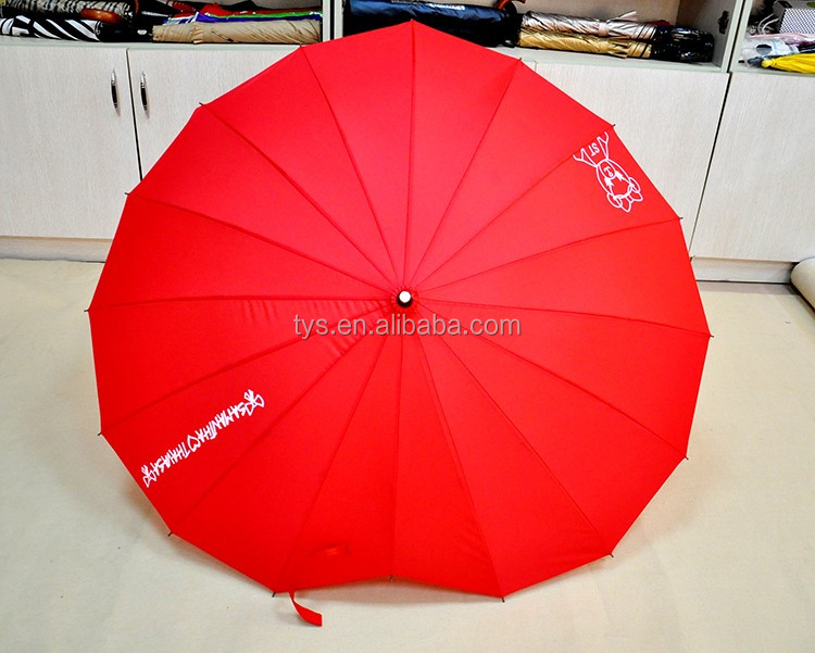 Red Fashion Heart Shape Umbrella For Wedding