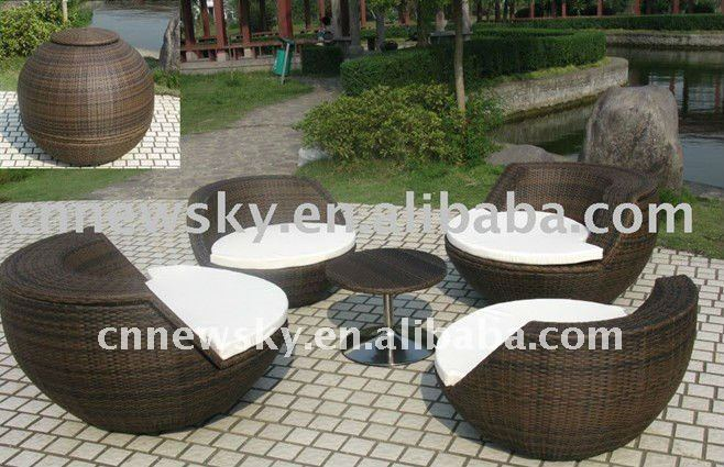 patio en rotin rond canap fixe jardin meubles en osier en plein air outils de jardin id de. Black Bedroom Furniture Sets. Home Design Ideas