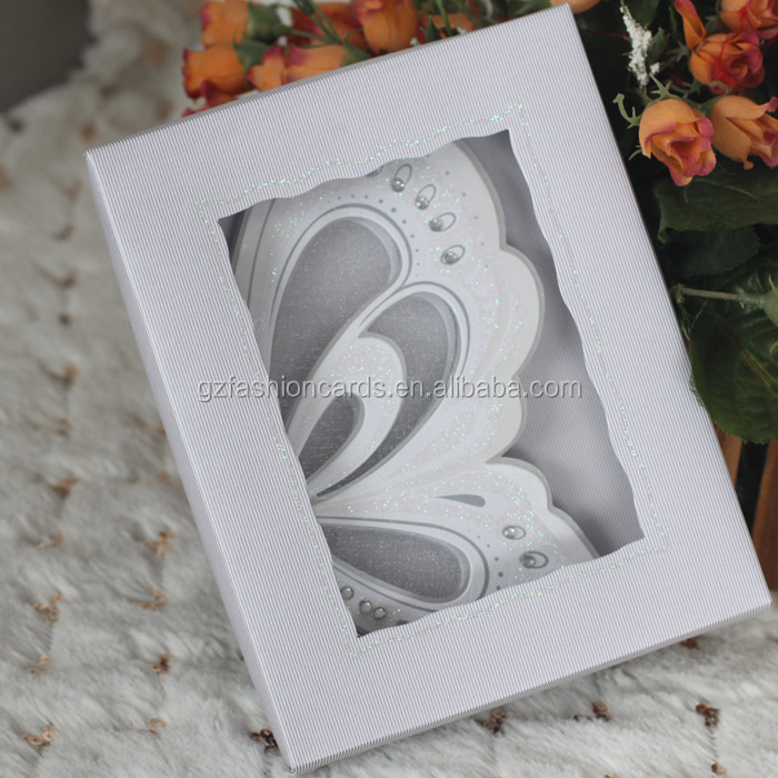 White Small Size Scroll Wedding Invitations With A Butterfly Buy