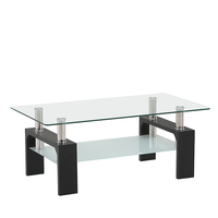 hot sale classic rectangle tempered glass double top wooden leg Dining Table