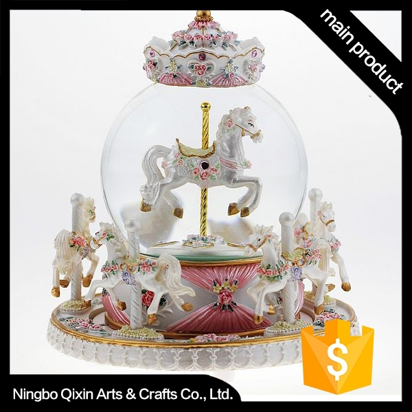 Decorative Snow Water Globe, Carousel Snow Globe, Rocking Horse Snow Globe