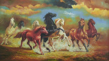 High Quality Canvas Support No Smell Oil Medium Purely Hand Painted Eight Horses Painting