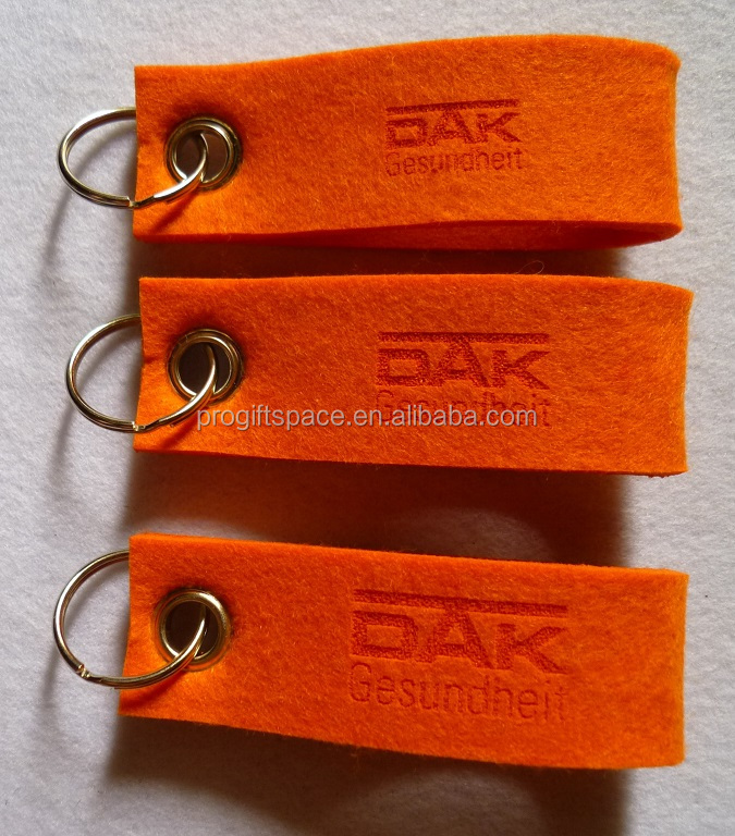 2017 high quality nonwoven polyester felt custom keychain with logo manufacturers in china eco blank metal ring maker promotion