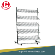 Multi-layer chrome metal wire display shoe rack with wheels