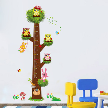 Newest Owl Animals Height Chart Wall Sticker 3d Removable Pvc Growth