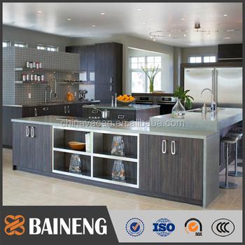 Baru Desain Modern Datar Pack Kabinet Dapur Stainless Steel Dengan Meja Kuarsa