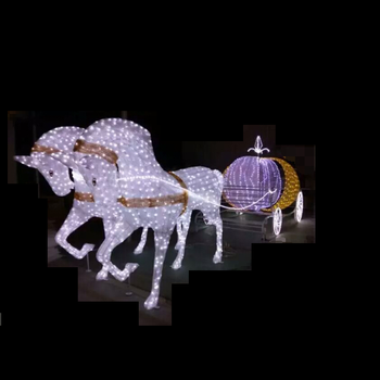 outdoor christmas decoration light up horse carriage lights in warm white - Christmas Lighted Horse Carriage Outdoor Decoration