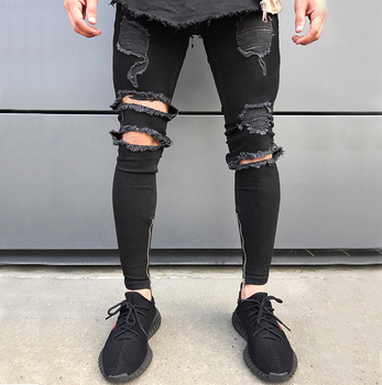 2e354b359774 Custom black destroyed stretchy ripped jeans pants man biker spray skinny  trousers pants model for men