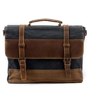 canvas shoulder briefcase businessRetro mens canvas leather laptop messenger bag