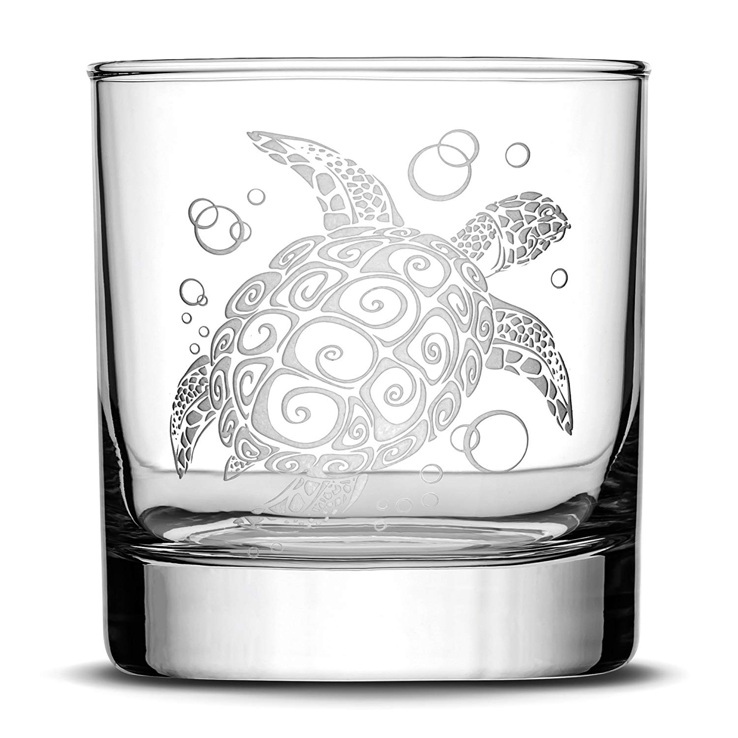 Premium Sea Turtle Whiskey Glass, Hand Etched Tribal Design, 10oz Rocks Glass Made in USA, Highball Gifts, Sand Carved by Integrity Bottles