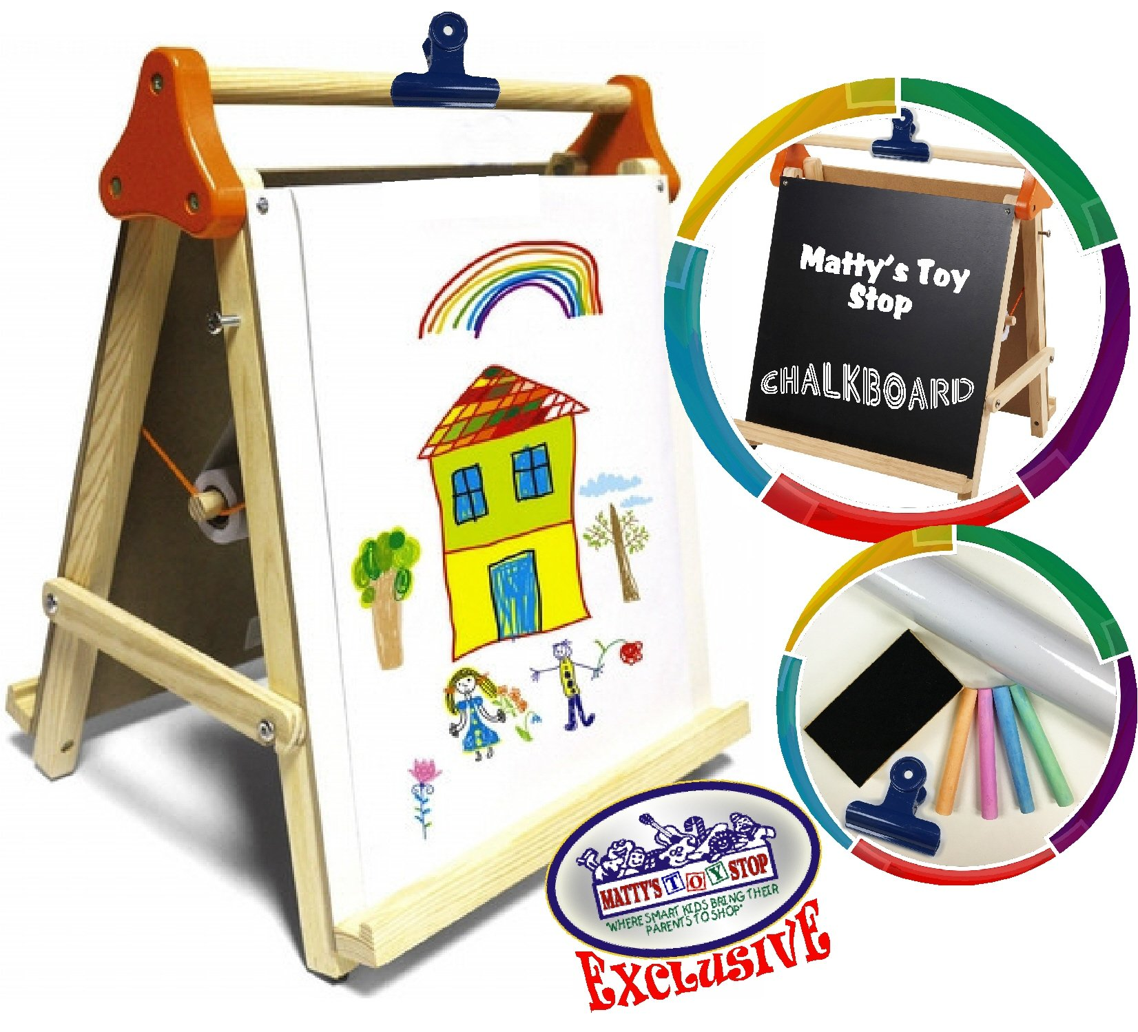 Deluxe 3 In 1 Wooden Tabletop Easel With Blackboard Dry Erase Paper Roll Accessories Matty S Toy Stop Exclusive