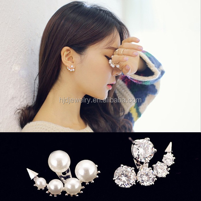 Stud Zircon Double Sided Pearl Earring Double Sided Pearl Earring