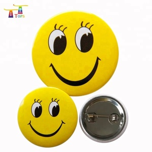 New product!!! hot selling customized your own logo plastic pin button tin metal badge