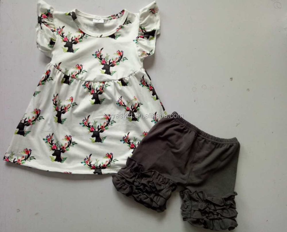 sale summer popular baby clothes girls chicken print flutter