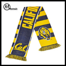 Morewin Brand 2016 High Quality Custom Design Wholesale Acrylic Jacquard Knitted Soccer Football Fan Scarf