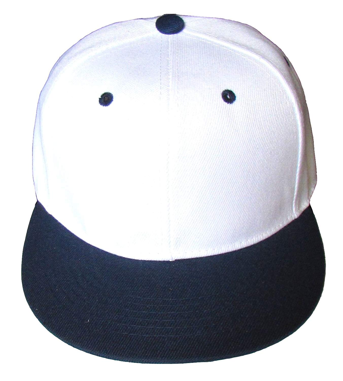 Get Quotations · NGH Premium Plain Two-Tone Flat Bill Snapback Hat - Baseball  Cap (White  c11fb5330575