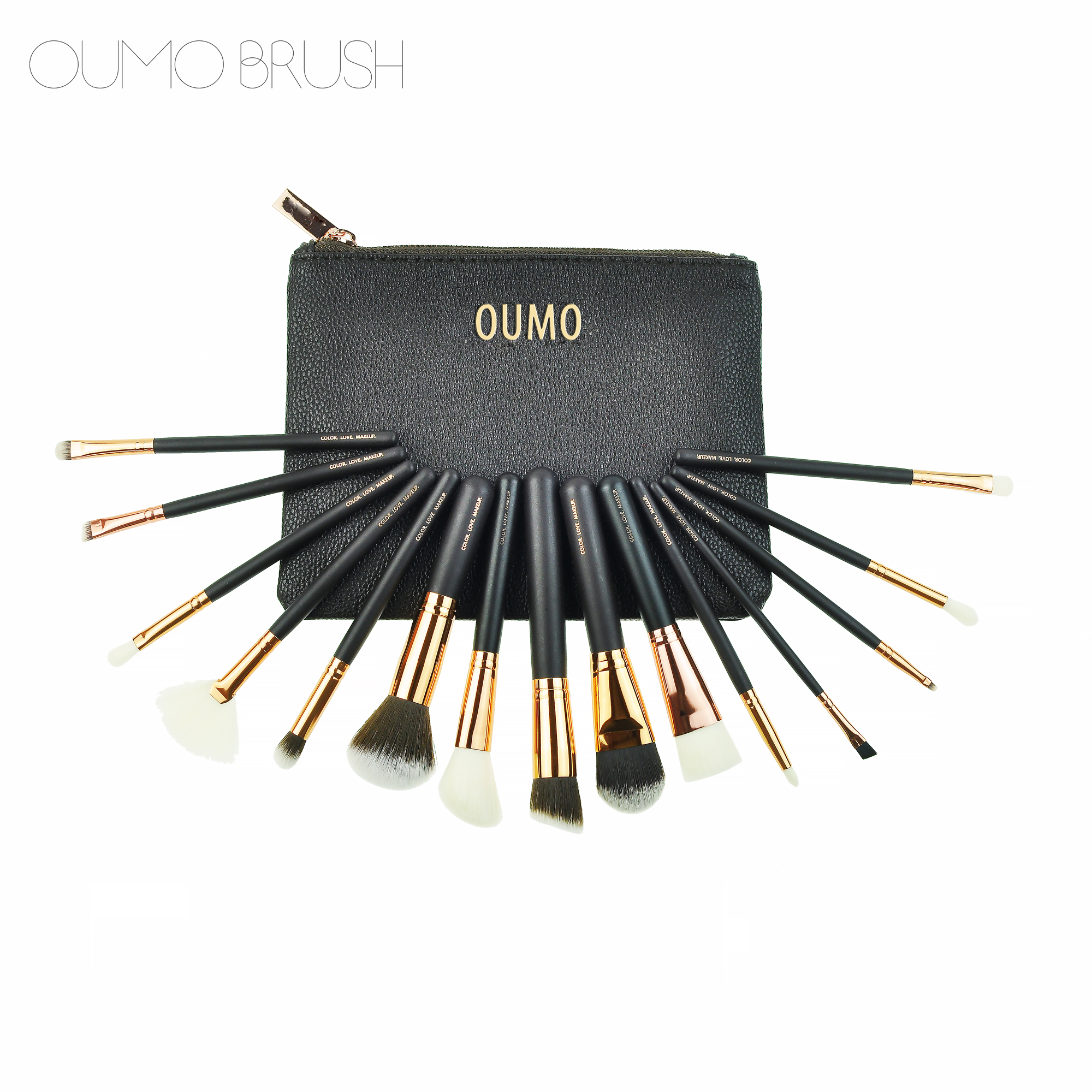 OUMO--2018 Amazon <strong>Best</strong> seller 15pcs OEM customer logo rose gold Makeup <strong>Brush</strong> With PU Bag