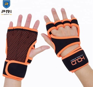 PRI Safety Hiv Pink Neoprene Grip Palm Custom Training Gym Fitness Womens Weight Lifting Gloves with Wrist Warps support