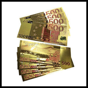 Gold foil collectible banknotes 24k US gold acrylic banknotes Euro banknotes