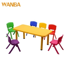 Ergonomic pp kids plastic furniture sets colorful table and chair