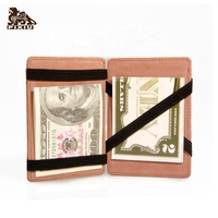Factory Leather Elastic Magic Men wallet ID credit card holder