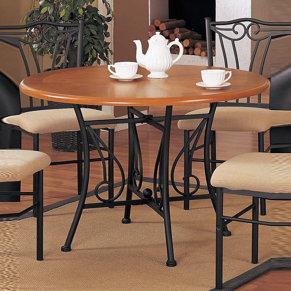 Benzara BM171259 Sturdy Round Wooden Dining Table Metal Base, Brown Black