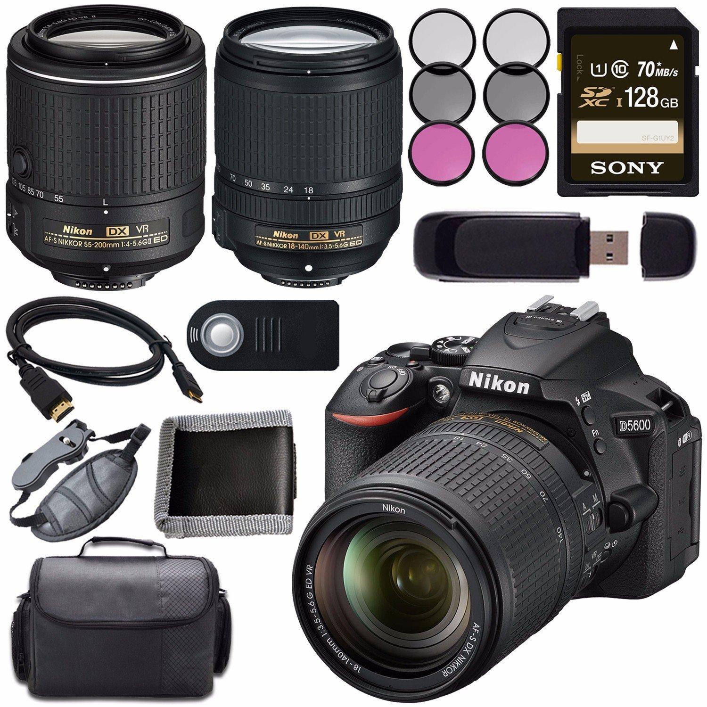 Nikon D5600 DSLR Camera with 18-140mm Lens (Black) 1577 + Nikon 55-200mm f/4-5.6G ED VR II Lens + Sony 128GB SDXC Card + Mini HDMI Cable + Remote + Memory Card Wallet + Card Reader Bundle