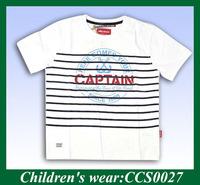 summer latest design yarn dye stripe o neck kids t shirts