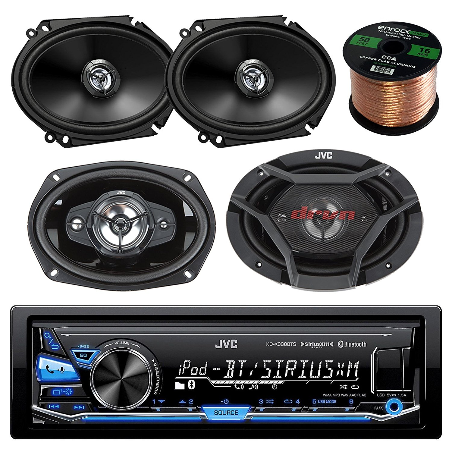 "JVC KD-X340BTS AM/FM USB AUX Car Stereo Receiver Bundle Combo With 2x CS-DR6820 300-Watt 6x8"" Inch Vehicle Coaxial Speakers + 2x DR6930 6x9"" Inch 3-Way Audio Speakers + Enrock 50 Feet 16-Gauge Wire"
