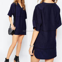 Dress fashion tunic dress in linen look with open stitch detail short bell sleeves mini dress