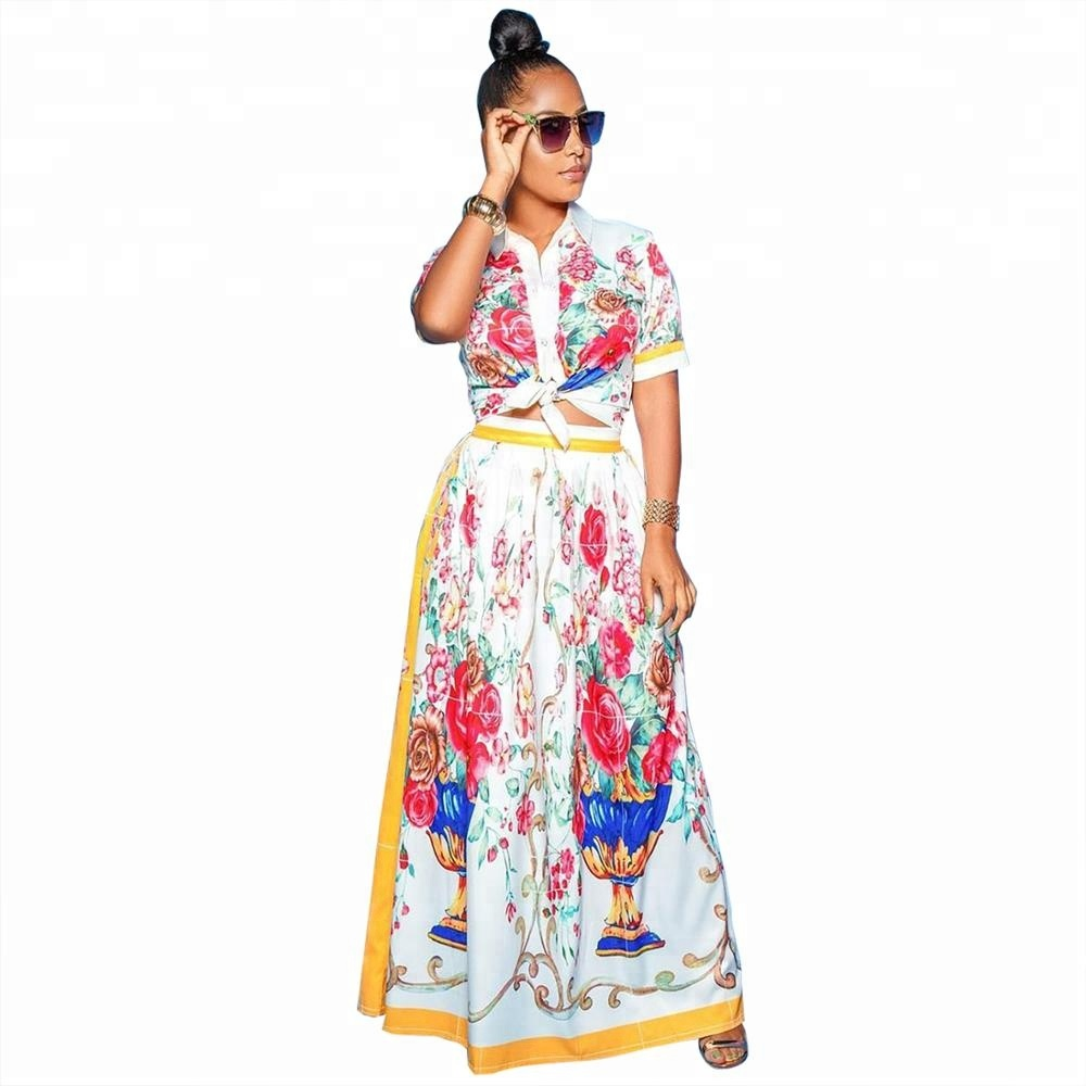Women's Floral Print Casual Two Piece Outfits Short Sleeve Crop Tops and Long Skirt