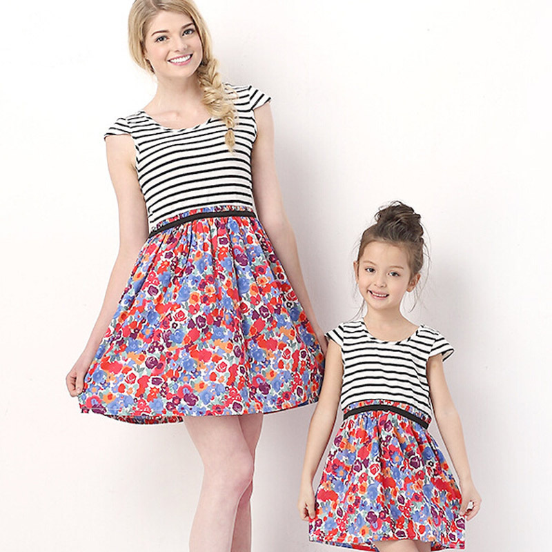 dd2db98c937 Get Quotations · Summer Style Mother Daughter Dresses Cotton Striped Floral  Printing For Mother And Daughter Outfits Fashion Family