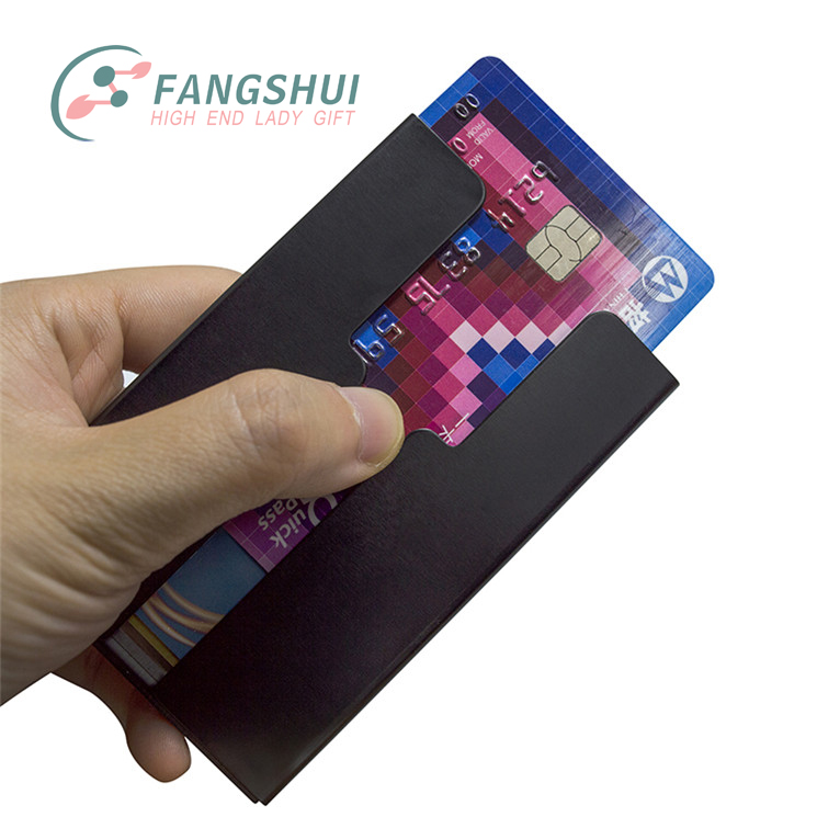 Hot selling manual thumb sliding push rfid aluminum credit card holder