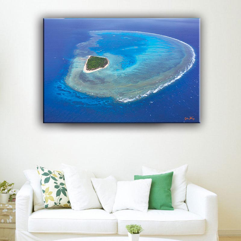Blue color Green/Recycled natural waterproof sea scenery outdoor paintings art on canvas