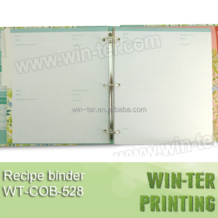 WT-COB-528 Hot sale 3 ring blank recipe book binder
