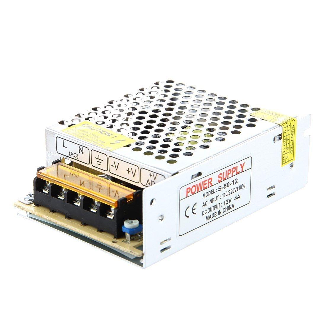 TOOGOO(R)LED Transformer Electronic Transformer 50W 4A 100-220V AC to 12V DC