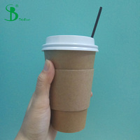 Kraft Paper cup 10 oz with sleeves, lid, straw Eco-friendly